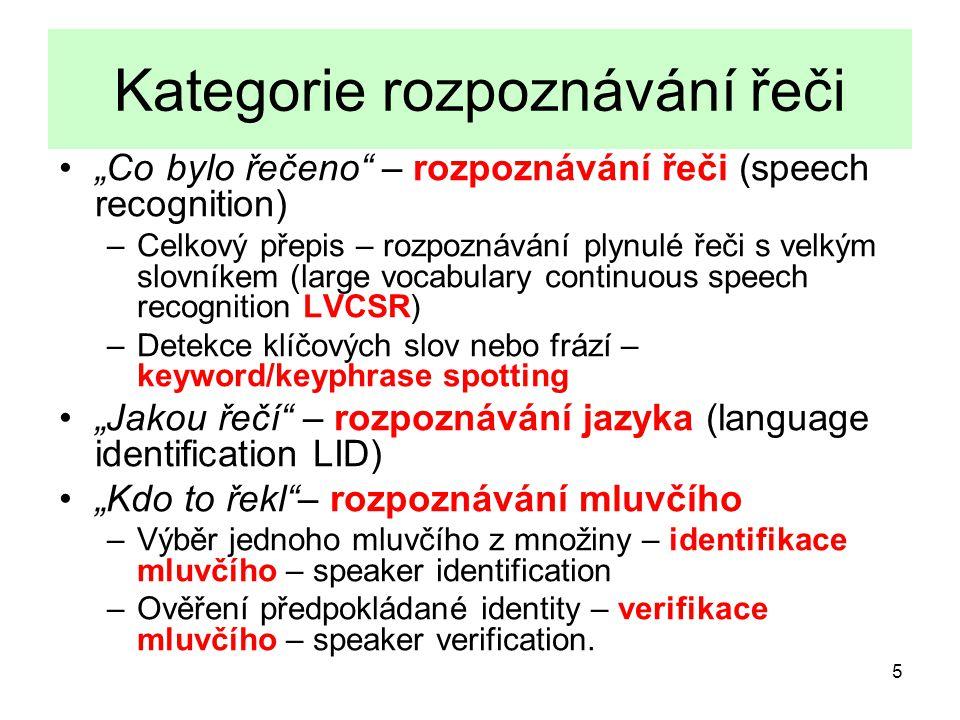 Kategorie rozpoznávání řeči