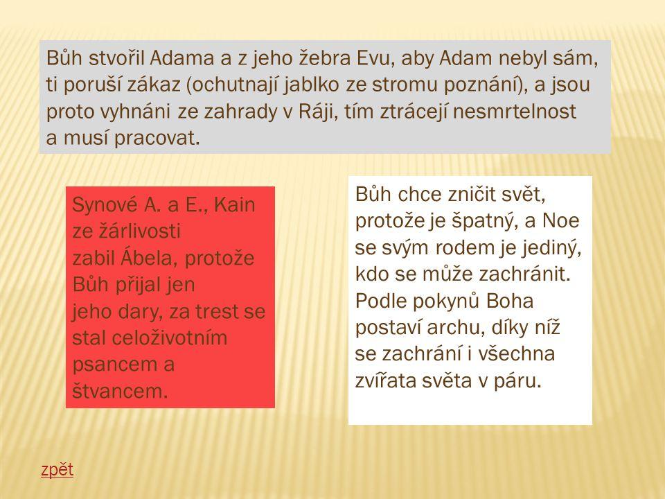 Bůh stvořil Adama a z jeho žebra Evu, aby Adam nebyl sám,