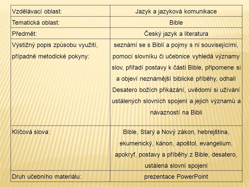 Jazyk a jazyková komunikace Tematická oblast: Bible Předmět: