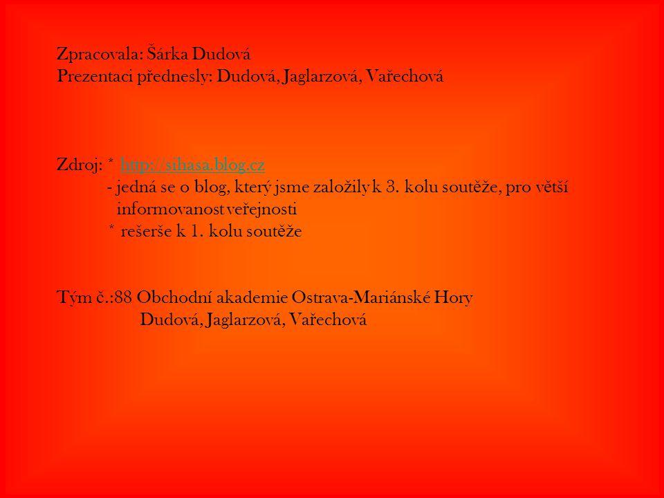 Zpracovala: Šárka Dudová Prezentaci přednesly: Dudová, Jaglarzová, Vařechová Zdroj: * http://sihasa.blog.cz - jedná se o blog, který jsme založily k 3. kolu soutěže, pro větší informovanost veřejnosti * rešerše k 1. kolu soutěže