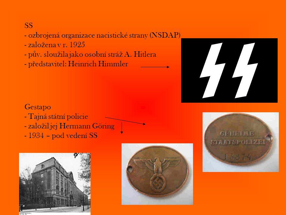 SS - ozbrojená organizace nacistické strany (NSDAP) - založena v r