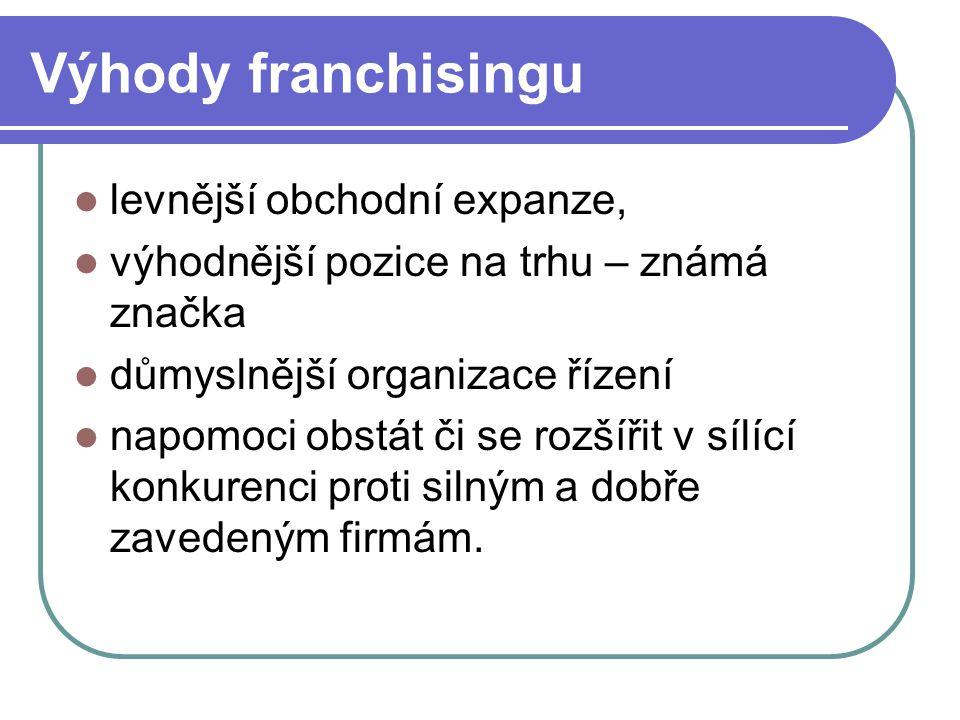Výhody franchisingu levnější obchodní expanze,