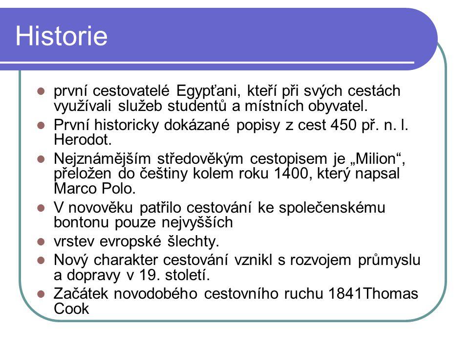 Historie první cestovatelé Egypťani, kteří při svých cestách využívali služeb studentů a místních obyvatel.