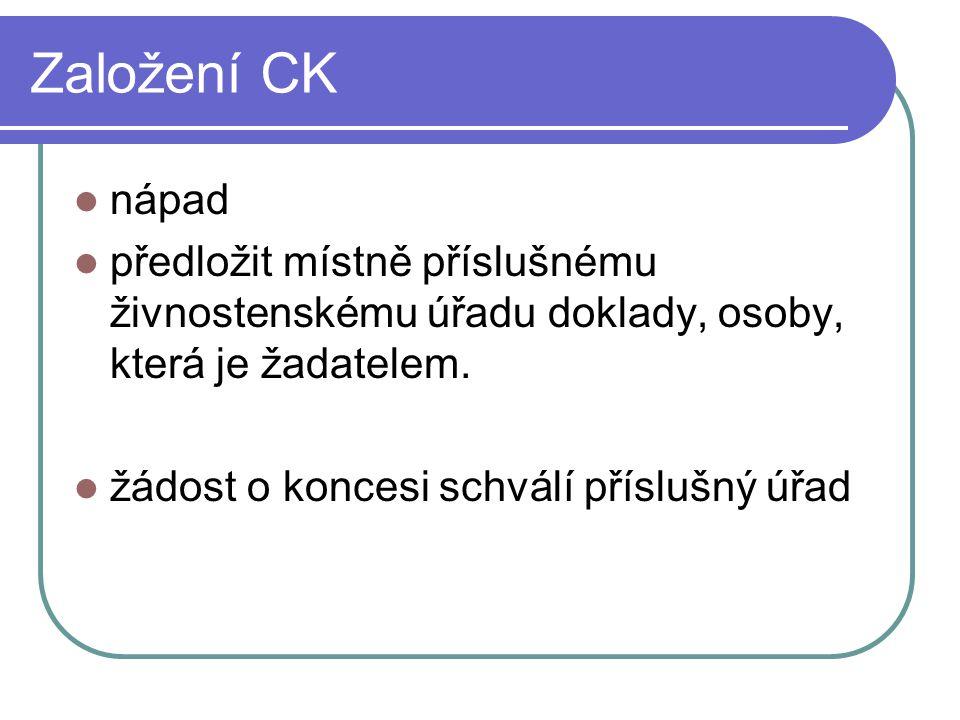 Založení CK nápad. předložit místně příslušnému živnostenskému úřadu doklady, osoby, která je žadatelem.