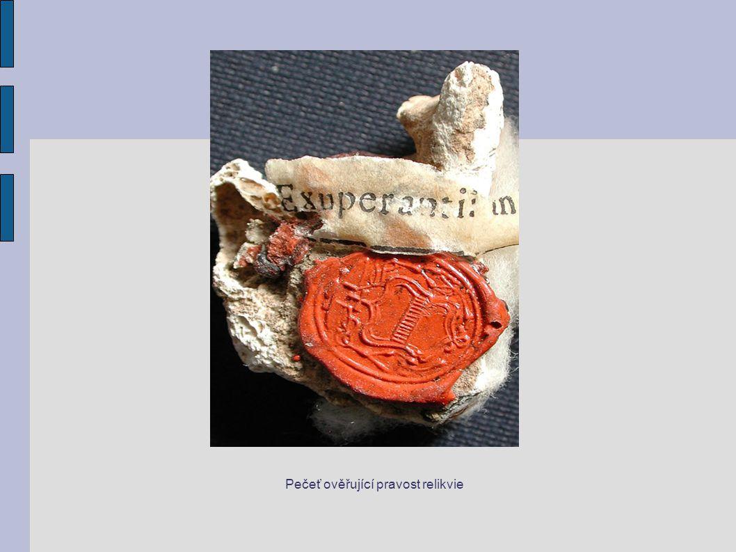 Pečeť ověřující pravost relikvie