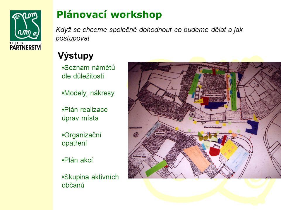 Plánovací workshop Výstupy