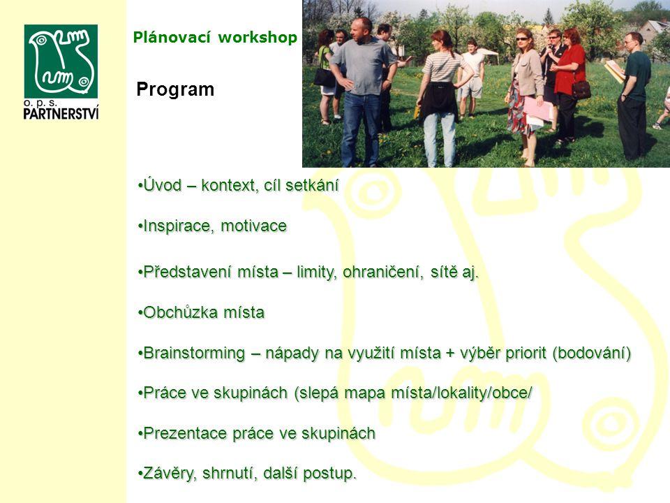 Program Úvod – kontext, cíl setkání Inspirace, motivace