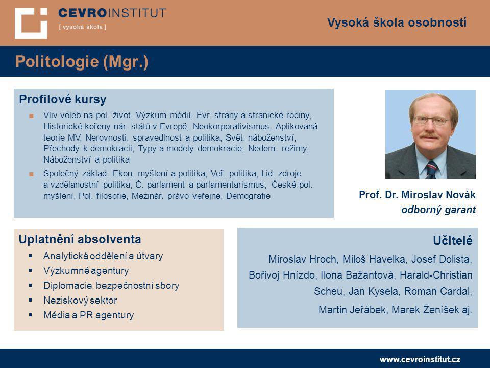 Politologie (Mgr.) Profilové kursy Uplatnění absolventa Učitelé