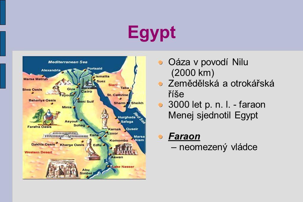 Egypt Oáza v povodí Nilu (2000 km) Zemědělská a otrokářská říše