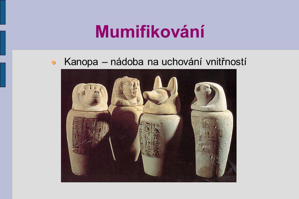 Mumifikování Kanopa – nádoba na uchování vnitřností