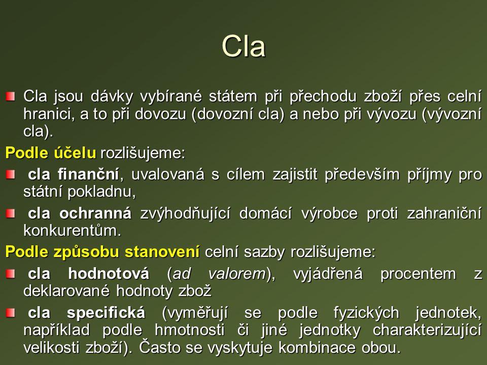 Cla Cla jsou dávky vybírané státem při přechodu zboží přes celní hranici, a to při dovozu (dovozní cla) a nebo při vývozu (vývozní cla).