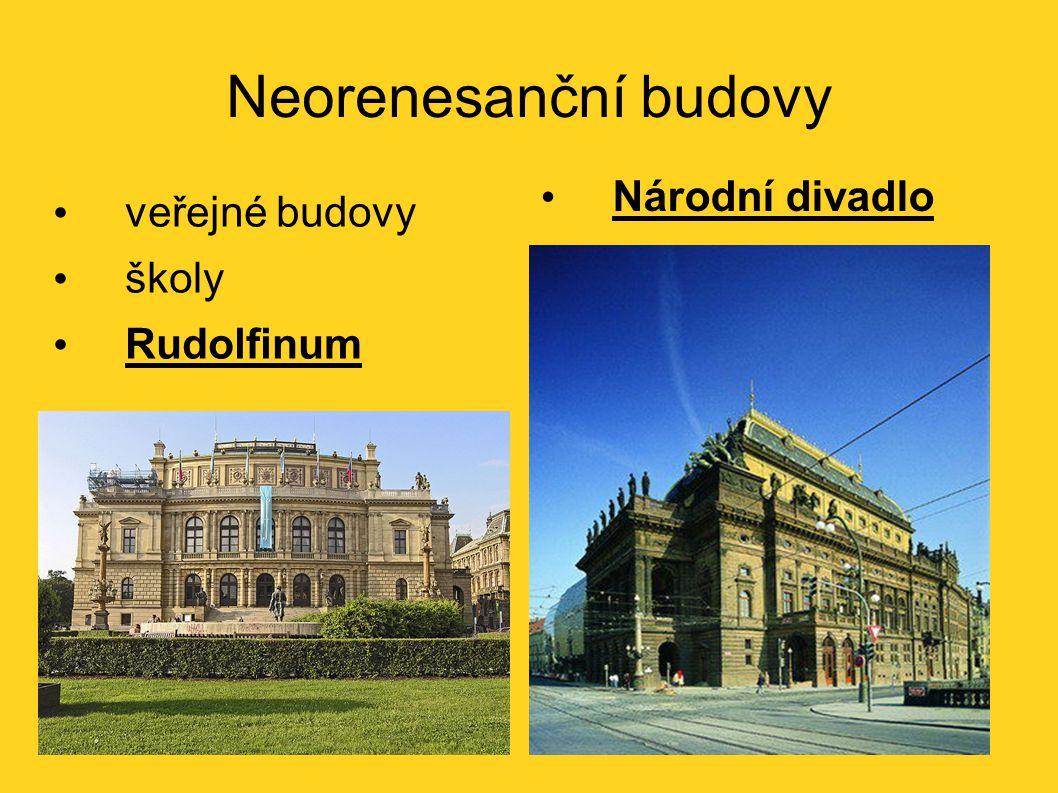 Neorenesanční budovy Národní divadlo veřejné budovy školy Rudolfinum