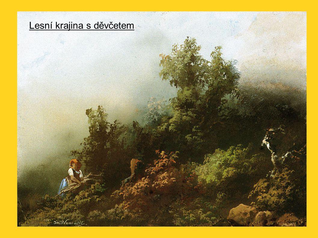 Lesní krajina s děvčetem