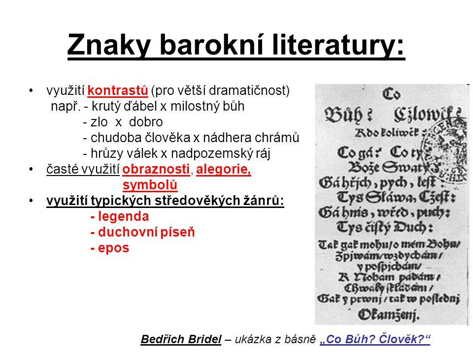 Znaky barokní literatury: