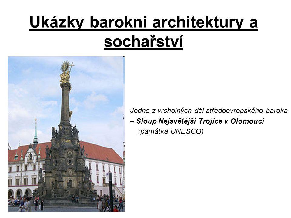 Ukázky barokní architektury a sochařství