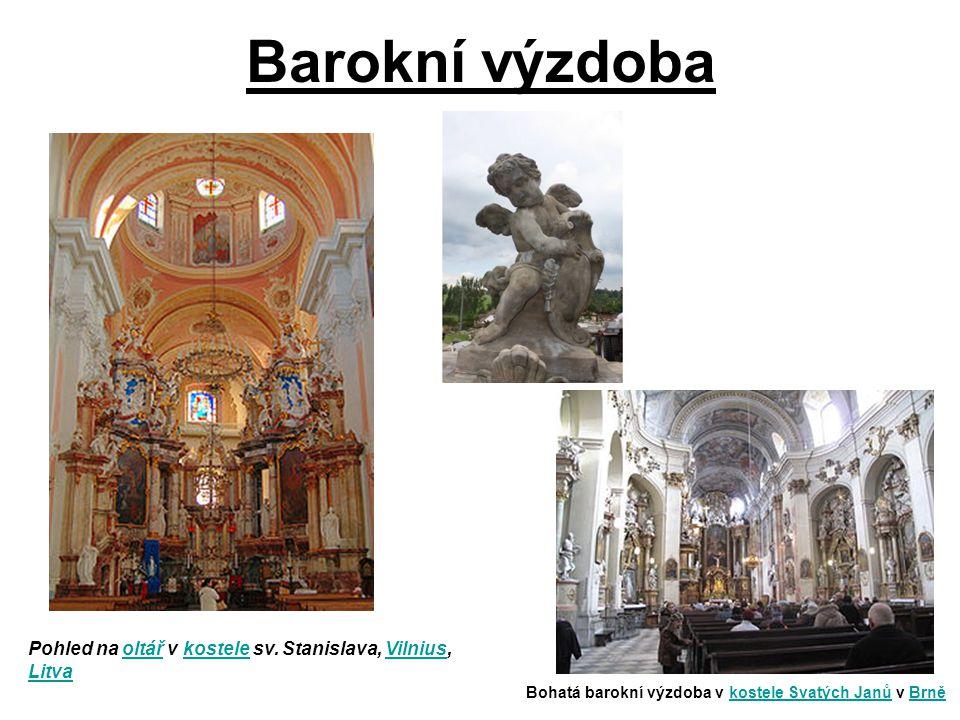 Barokní výzdoba Pohled na oltář v kostele sv. Stanislava, Vilnius, Litva.