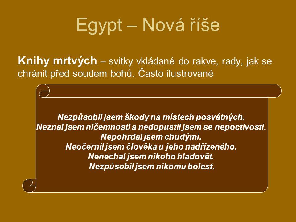 Egypt – Nová říše Knihy mrtvých – svitky vkládané do rakve, rady, jak se chránit před soudem bohů. Často ilustrované.