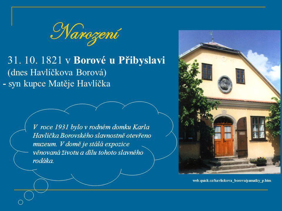 Narození 31. 10. 1821 v Borové u Přibyslavi (dnes Havlíčkova Borová)