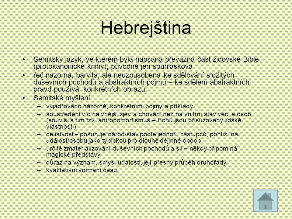 Hebrejština Semitský jazyk, ve kterém byla napsána převážná část židovské Bible (protokanonické knihy); původně jen souhlásková.
