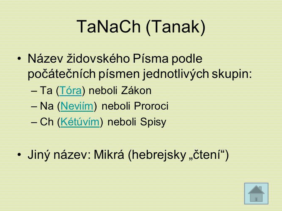 TaNaCh (Tanak) Název židovského Písma podle počátečních písmen jednotlivých skupin: Ta (Tóra) neboli Zákon.