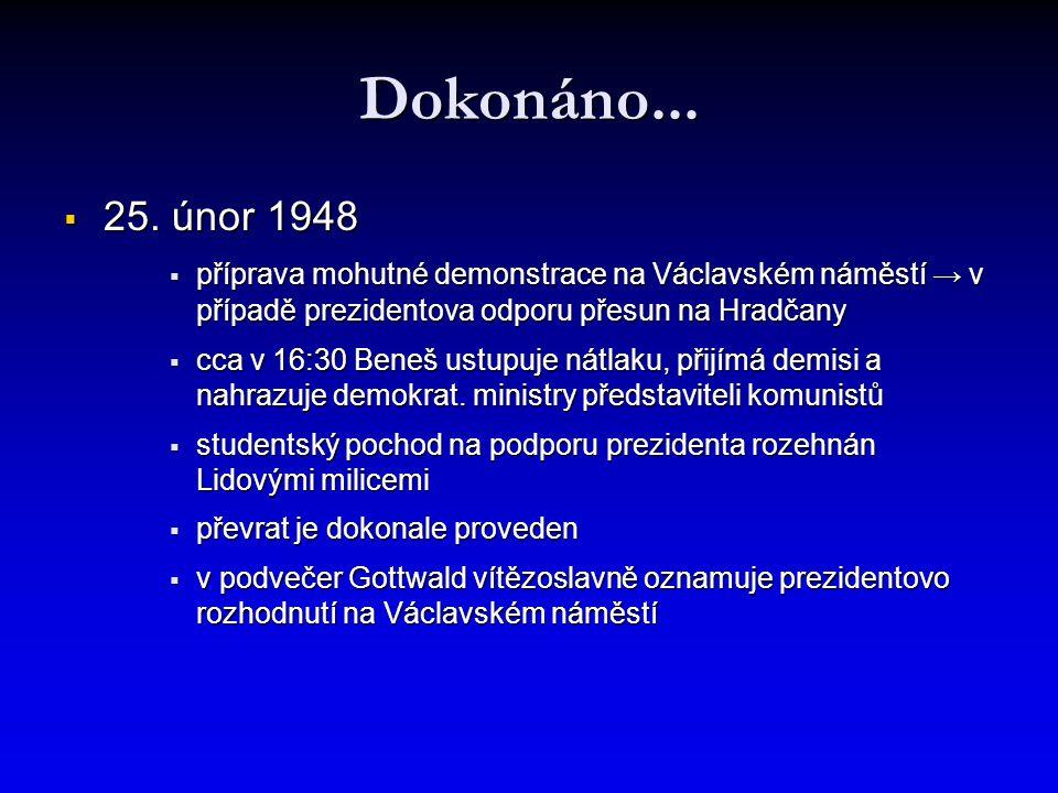 Dokonáno... 25. únor 1948. příprava mohutné demonstrace na Václavském náměstí → v případě prezidentova odporu přesun na Hradčany.