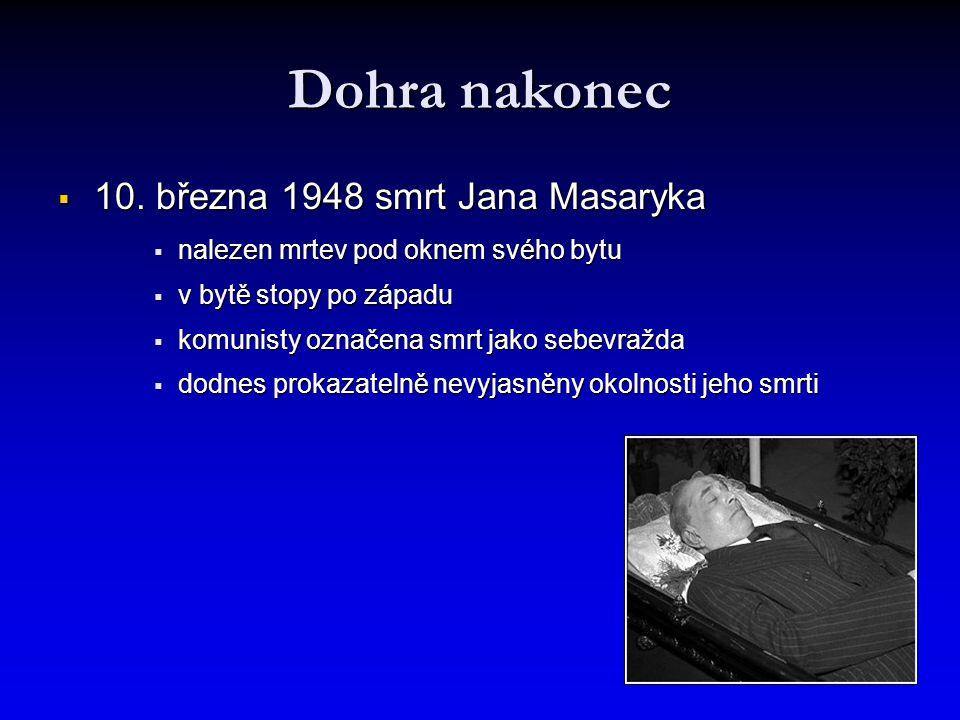 Dohra nakonec 10. března 1948 smrt Jana Masaryka
