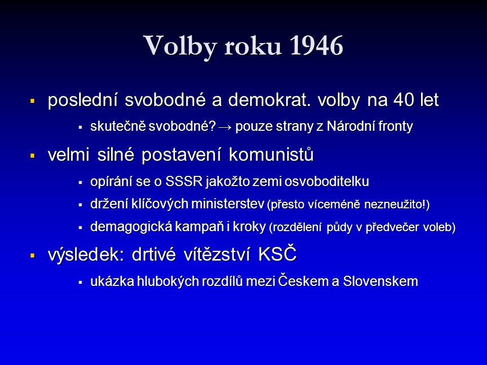 Volby roku 1946 poslední svobodné a demokrat. volby na 40 let