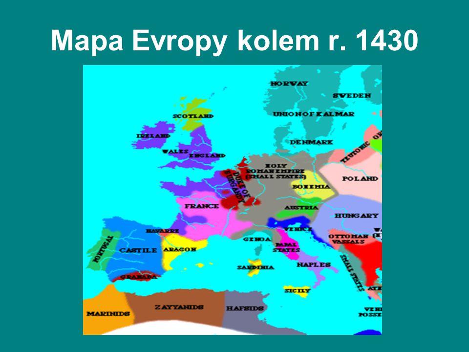 Mapa Evropy kolem r. 1430