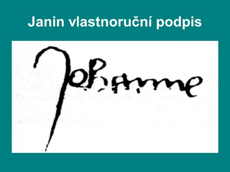 Janin vlastnoruční podpis