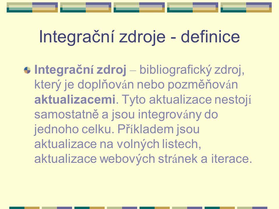 Integrační zdroje - definice
