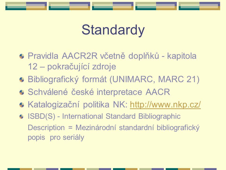 Standardy Pravidla AACR2R včetně doplňků - kapitola 12 – pokračující zdroje. Bibliografický formát (UNIMARC, MARC 21)