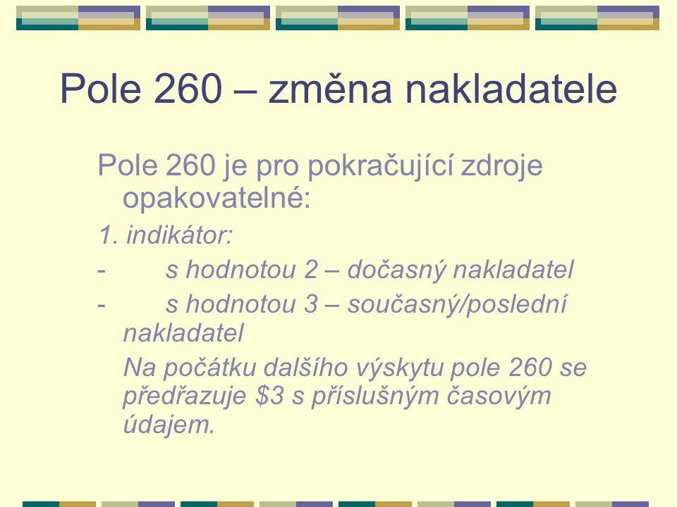 Pole 260 – změna nakladatele