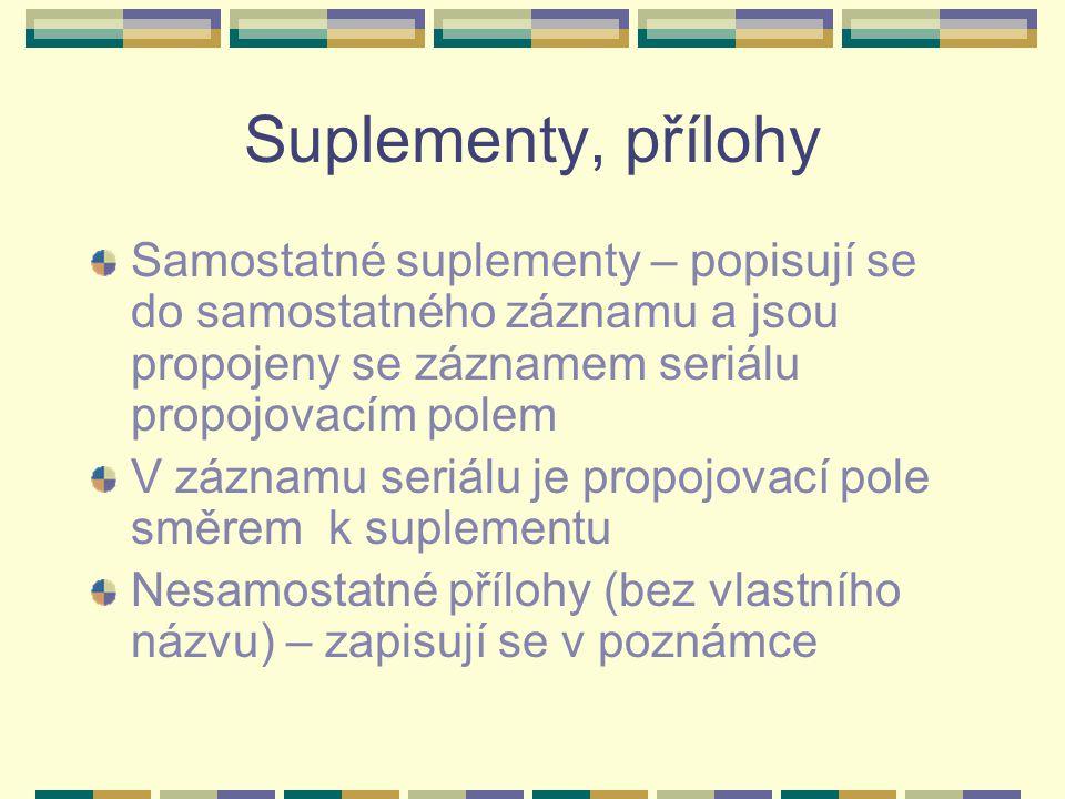 Suplementy, přílohy Samostatné suplementy – popisují se do samostatného záznamu a jsou propojeny se záznamem seriálu propojovacím polem.