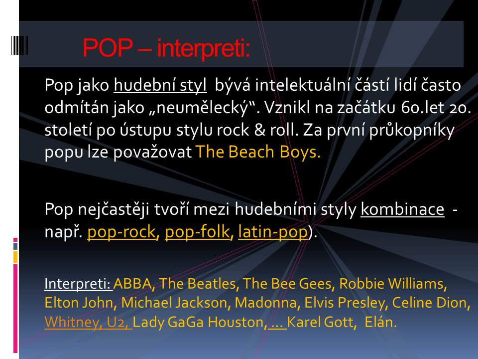 POP – interpreti: