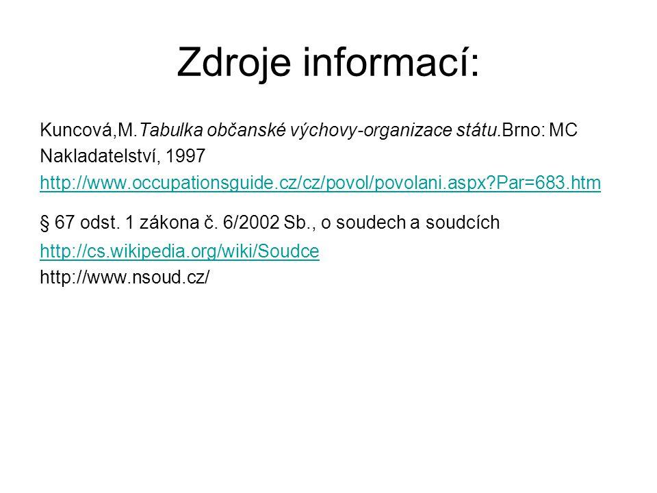 Zdroje informací: Kuncová,M.Tabulka občanské výchovy-organizace státu.Brno: MC. Nakladatelství, 1997.