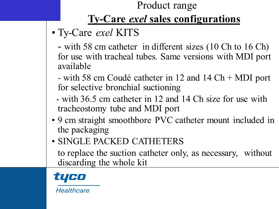 Ty-Care exel sales configurations