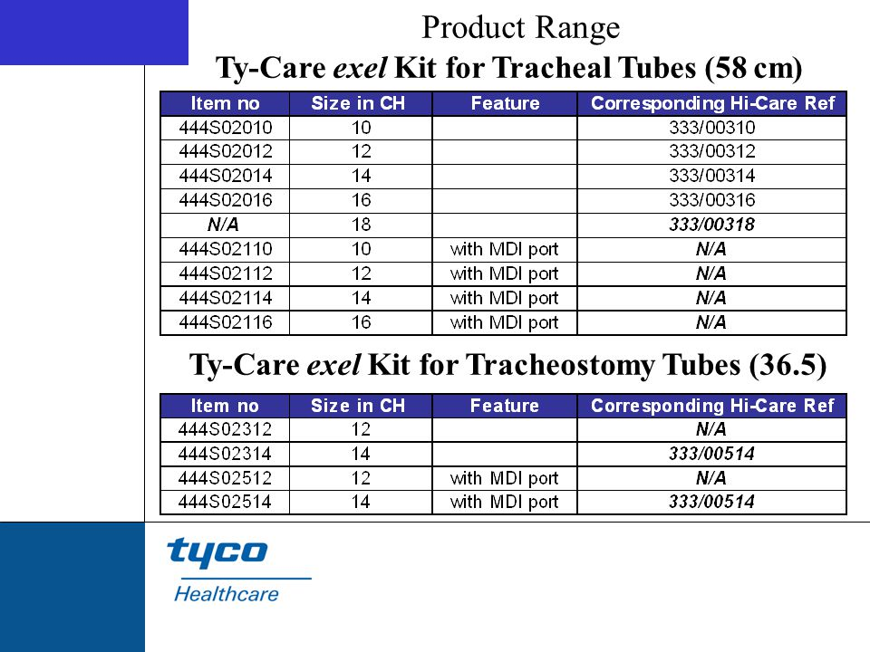 Product Range Ty-Care exel Kit for Tracheal Tubes (58 cm)