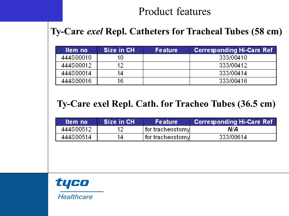 Product features Ty-Care exel Repl. Catheters for Tracheal Tubes (58 cm) Ty-Care exel Repl.