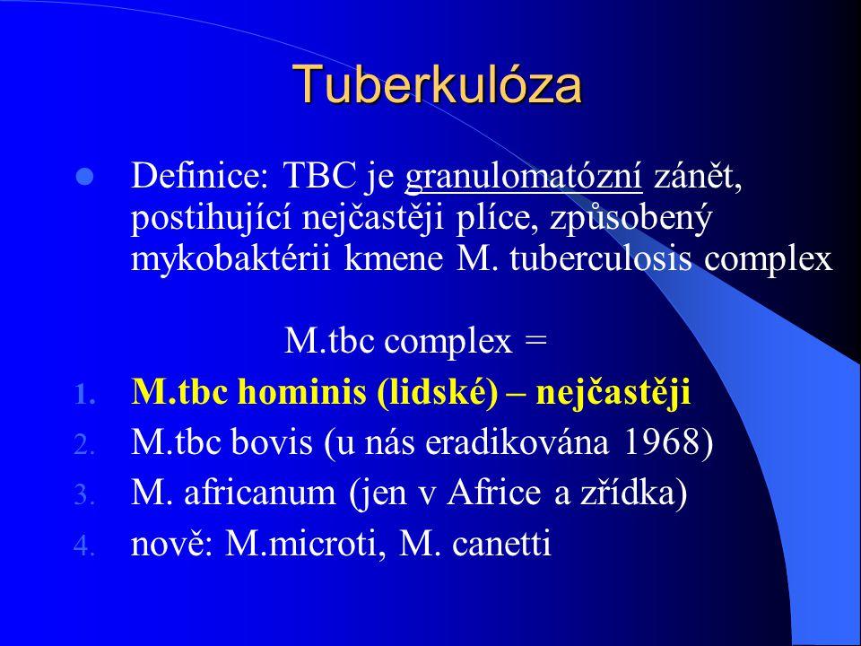 Tuberkulóza Definice: TBC je granulomatózní zánět, postihující nejčastěji plíce, způsobený mykobaktérii kmene M. tuberculosis complex.