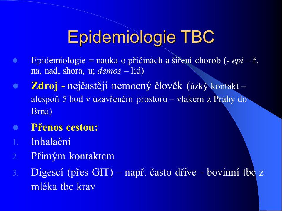 Epidemiologie TBC Epidemiologie = nauka o příčinách a šíření chorob (- epi – ř. na, nad, shora, u; demos – lid)