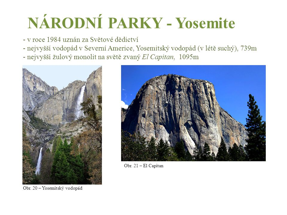 NÁRODNÍ PARKY - Yosemite