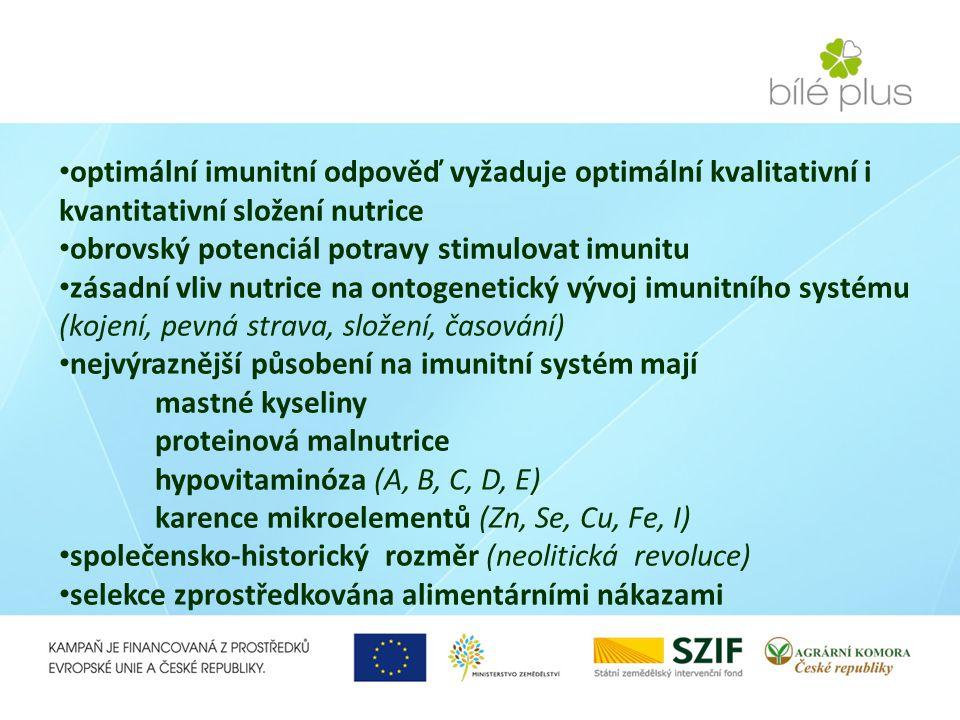 optimální imunitní odpověď vyžaduje optimální kvalitativní i kvantitativní složení nutrice