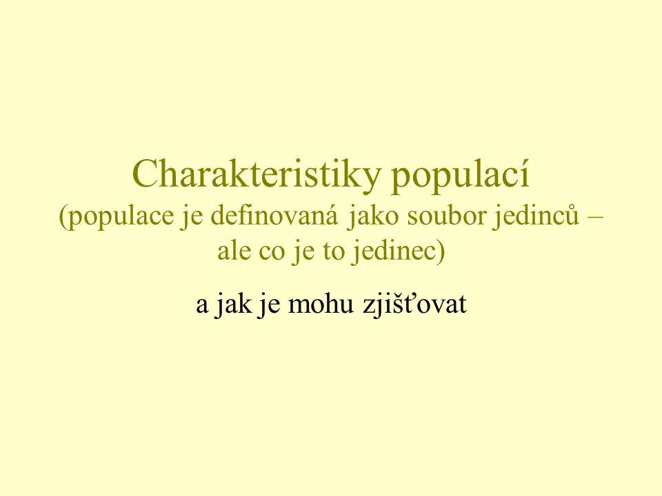 Charakteristiky populací (populace je definovaná jako soubor jedinců – ale co je to jedinec)