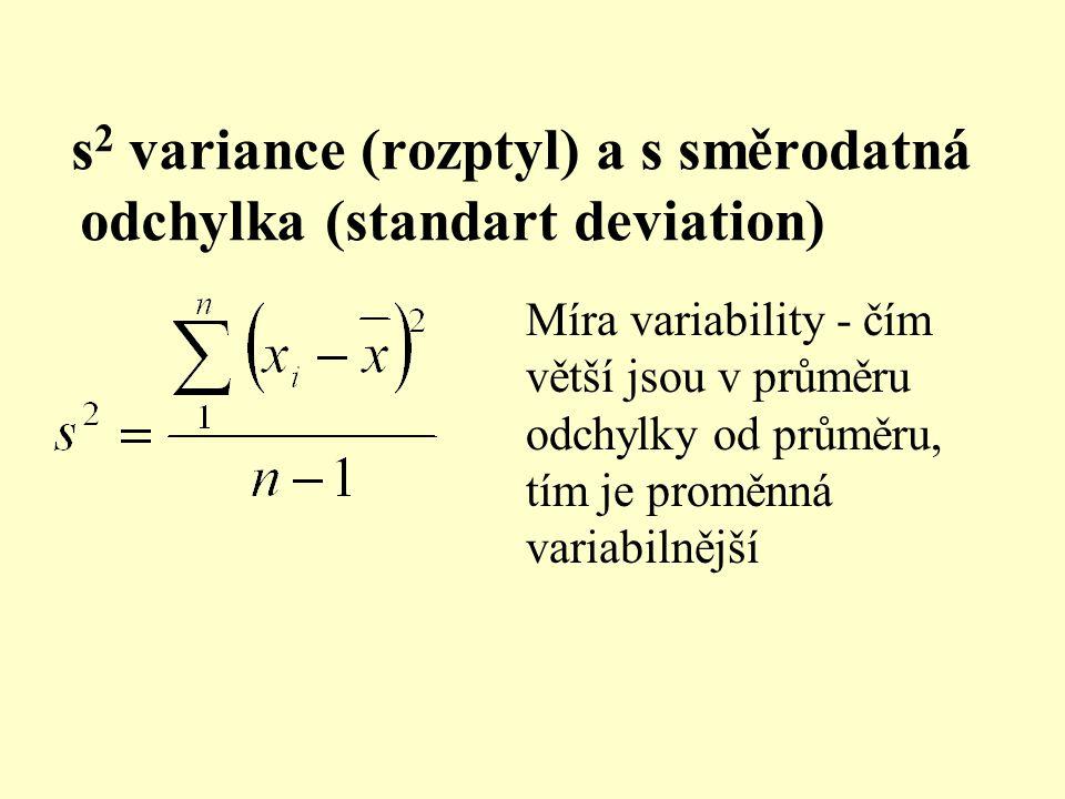 s2 variance (rozptyl) a s směrodatná odchylka (standart deviation)