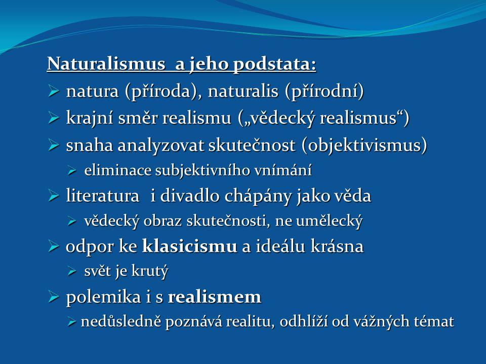 Naturalismus a jeho podstata: natura (příroda), naturalis (přírodní)
