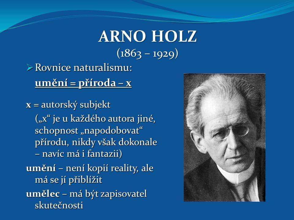 ARNO HOLZ (1863 – 1929) Rovnice naturalismu: umění = příroda – x