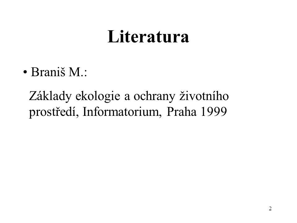 Literatura • Braniš M.: Základy ekologie a ochrany životního prostředí, Informatorium, Praha 1999