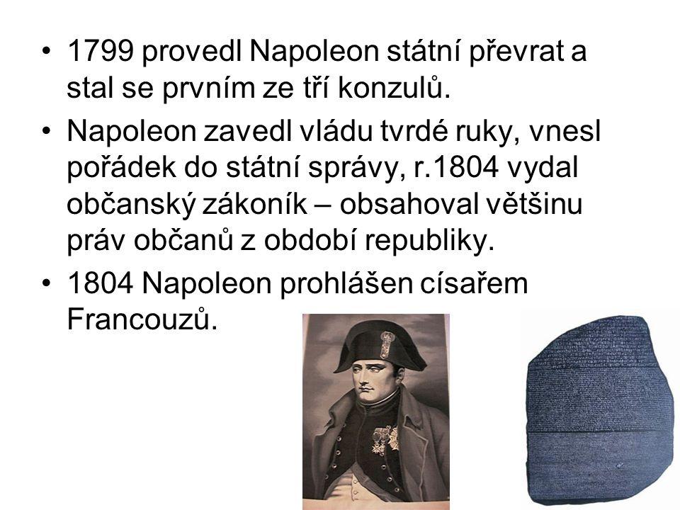 1799 provedl Napoleon státní převrat a stal se prvním ze tří konzulů.