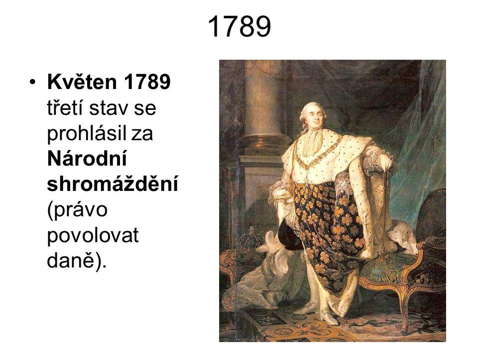 1789 Květen 1789 třetí stav se prohlásil za Národní shromáždění (právo povolovat daně).