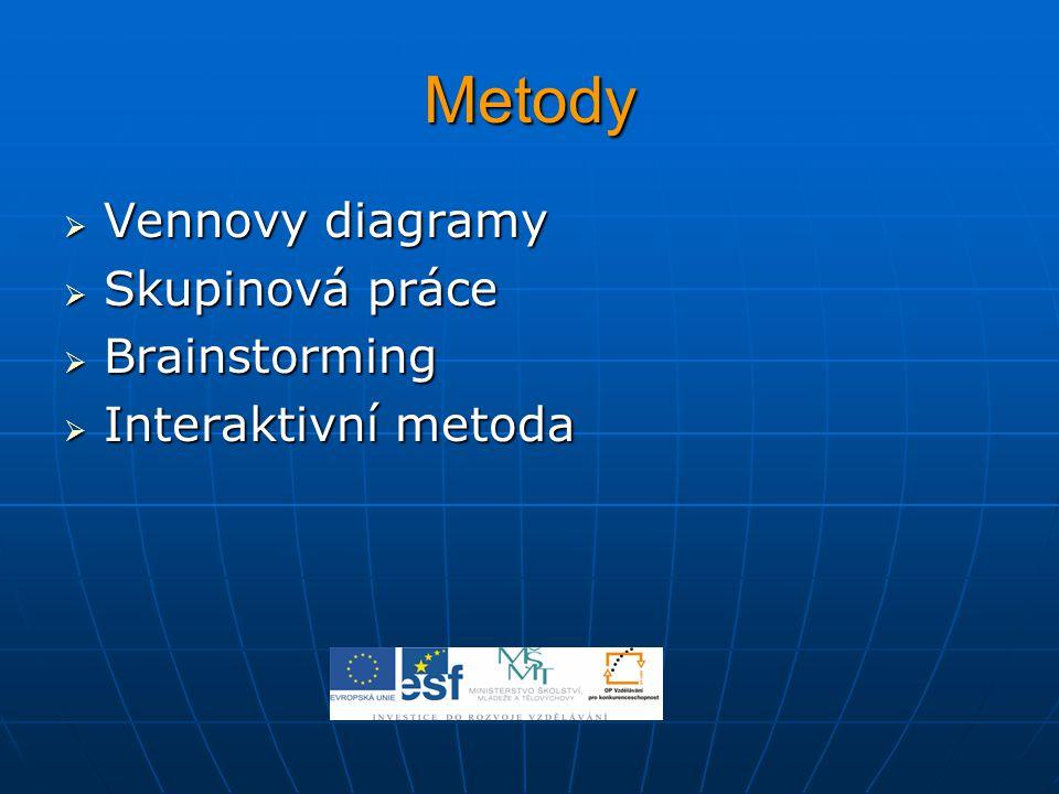 Metody Vennovy diagramy Skupinová práce Brainstorming